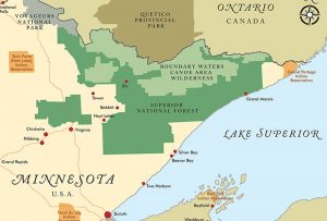 "Detail of map showing Boundary Waters Canoe Area Wilderness. Map used in 2018 ""State of the Boundary Waters"" report published by the Friends of the Boundary Waters Wilderness; graphic design by Carolyn Porter of Porterfolio, Inc."