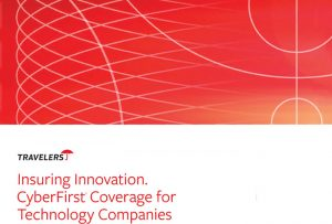 """Bright red cover of """"CyberFirst"""" brochure designed for Travelers Insurance company; graphic design by Carolyn Porter of Porterfolio, Inc."""