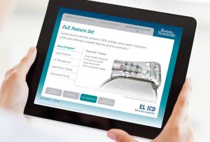 Two hands holding iPad showing Boston Scientific EL-ICD app; app designed and programmed by Carolyn Porter