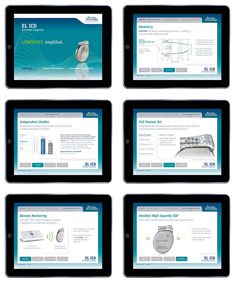 Six sample layouts showing pages from EL-ICD iPad App for Boston Scientific; graphic design by Carolyn Porter of Porterfolio, Inc.