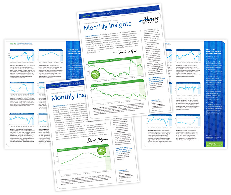 """Sample layouts of Alerus Financial """"Monthly Insights"""" newsletter; graphic design by Carolyn Porter of Porterfolio, Inc."""