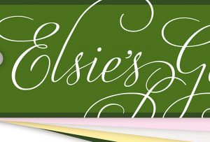 "Close-up of word ""Elsie's"" from ""Elsie's Garden"" identity; graphic design by Caorlyn Porter of Porterfolio, Inc."