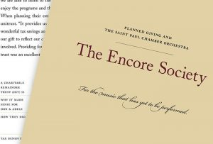 "Close-up image of cover of ""Encore Society"" brochure; graphic design by Carolyn Porter of Porterfolio, Inc."