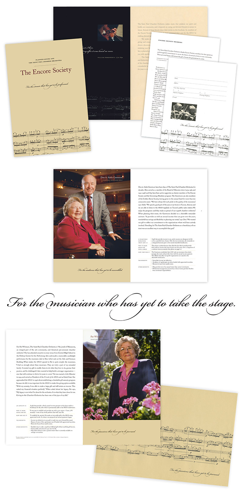 sample pages from brochure for The Saint Paul Chamber Orchestra's Encore Society; design by Carolyn Porter of Porterfolio, Inc.
