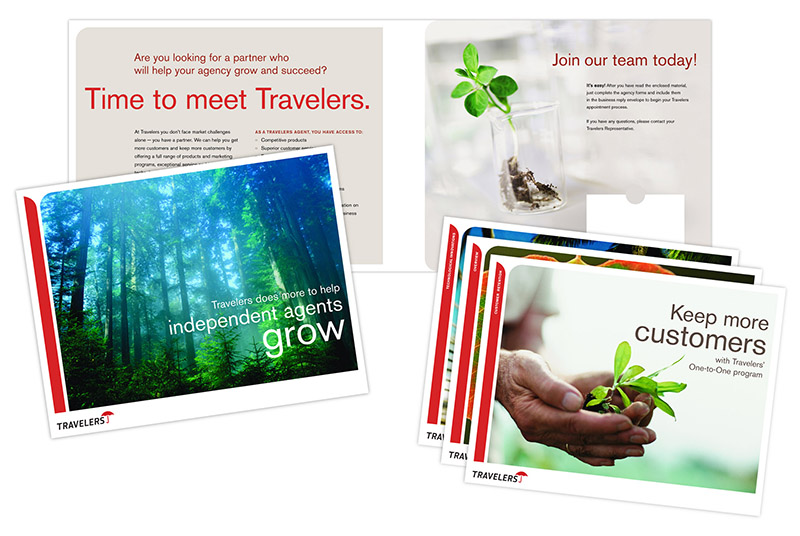 "Detailed images of Travelers ""Helping new agents grow"" folders and inserts; graphic design by Carolyn Porter of Porterfolio, Inc."