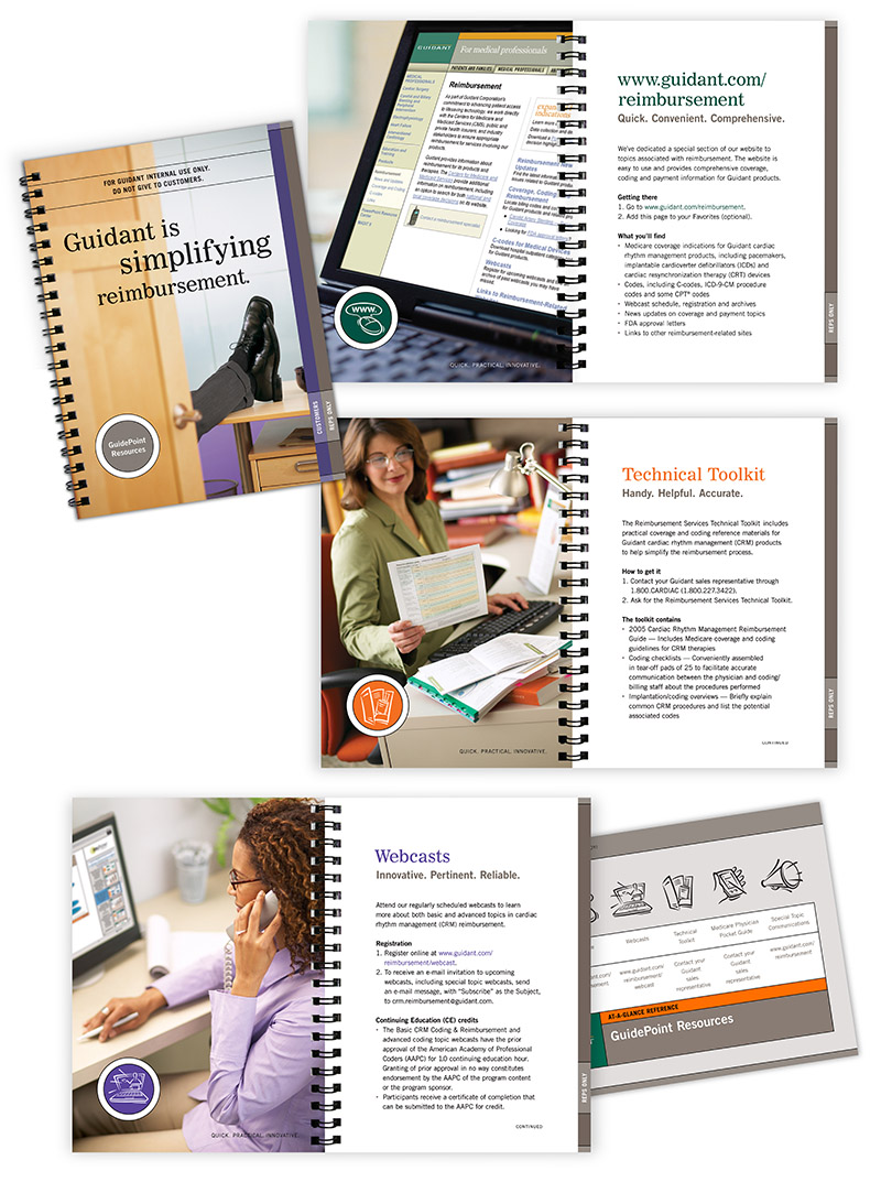 "Sample layouts from Guidant's ""Guidepoint"" brochure; graphic design by Carolyn Porter of Porterfolio, Inc."