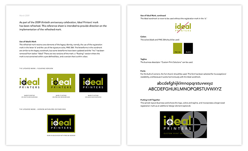 Two pages showing design documentation of updated visual identity for Ideal Printers; graphic design by Carolyn Porter of Porterfolio, Inc.