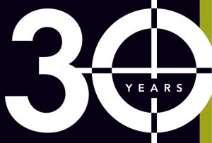 Detail of Ideal Printers, Inc. 30th anniversary logo; graphic design by Carolyn Porter of Porterfolio, Inc.