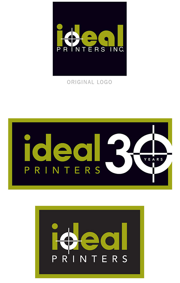 Redesign of Ideal Printers logo; graphic design by Carolyn Porter of Porterfolio, Inc.