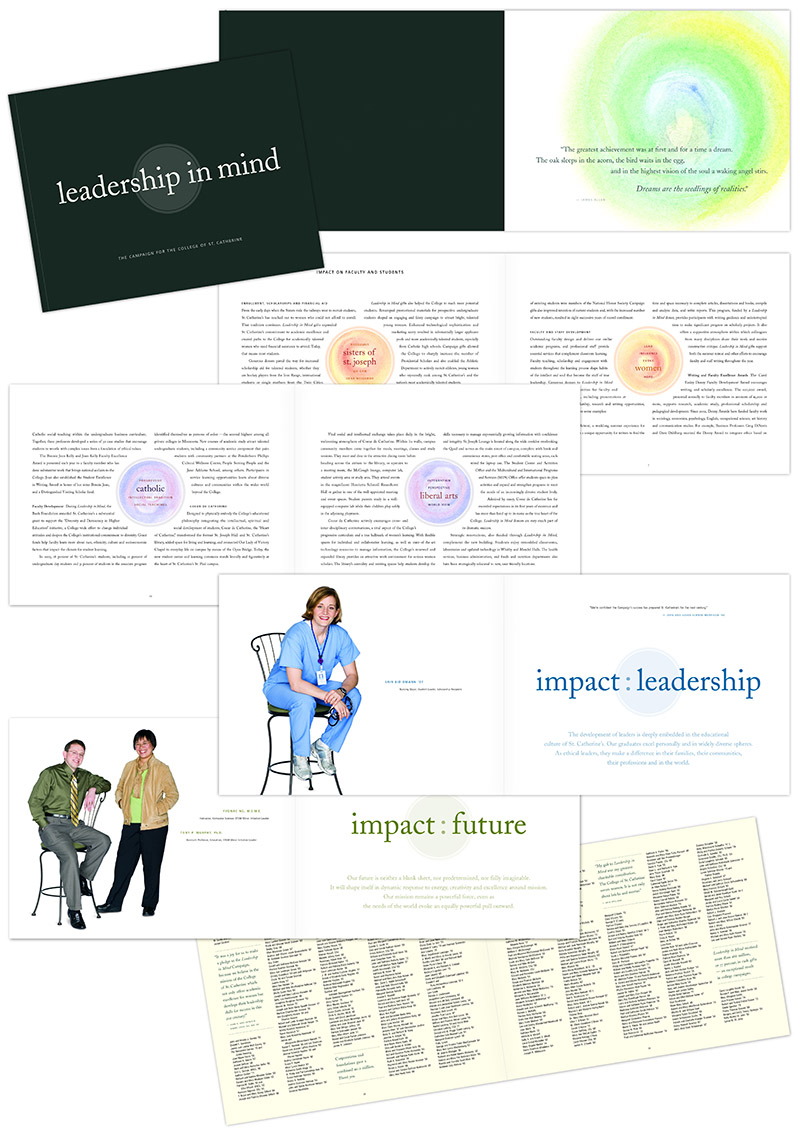 "Five sample spreads from ""Leadership in Mind"" brochure for St. Catherine University; graphic design by Carolyn Porter of Porterfolio, Inc."