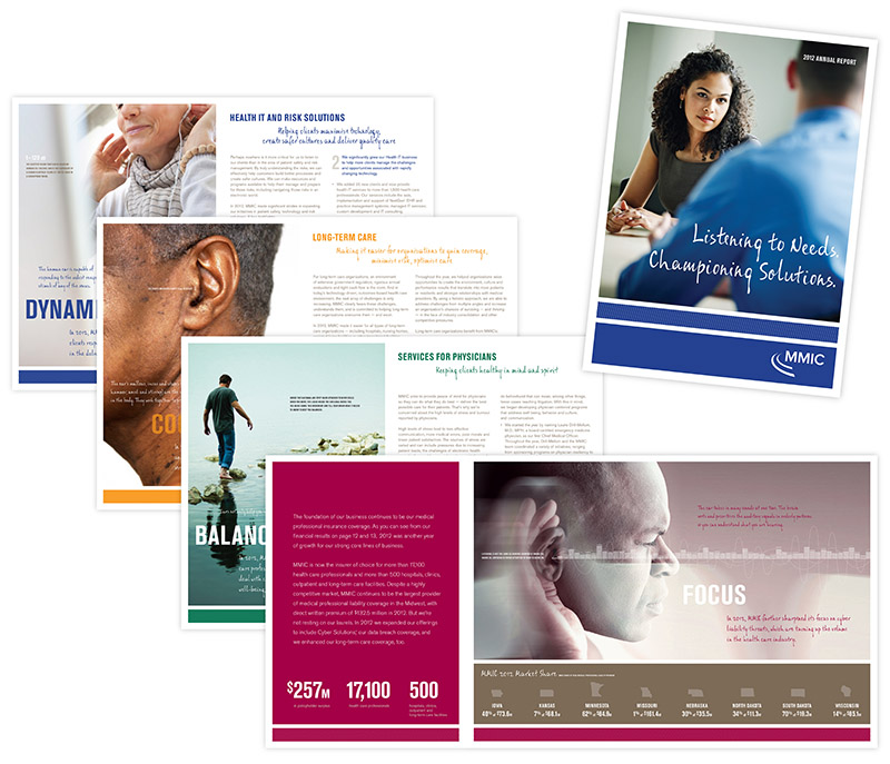 "Sample layouts of MMIC annual report. All pages have a theme of ""listening."" Graphic design by Carolyn Porter of Porterfolio, Inc."
