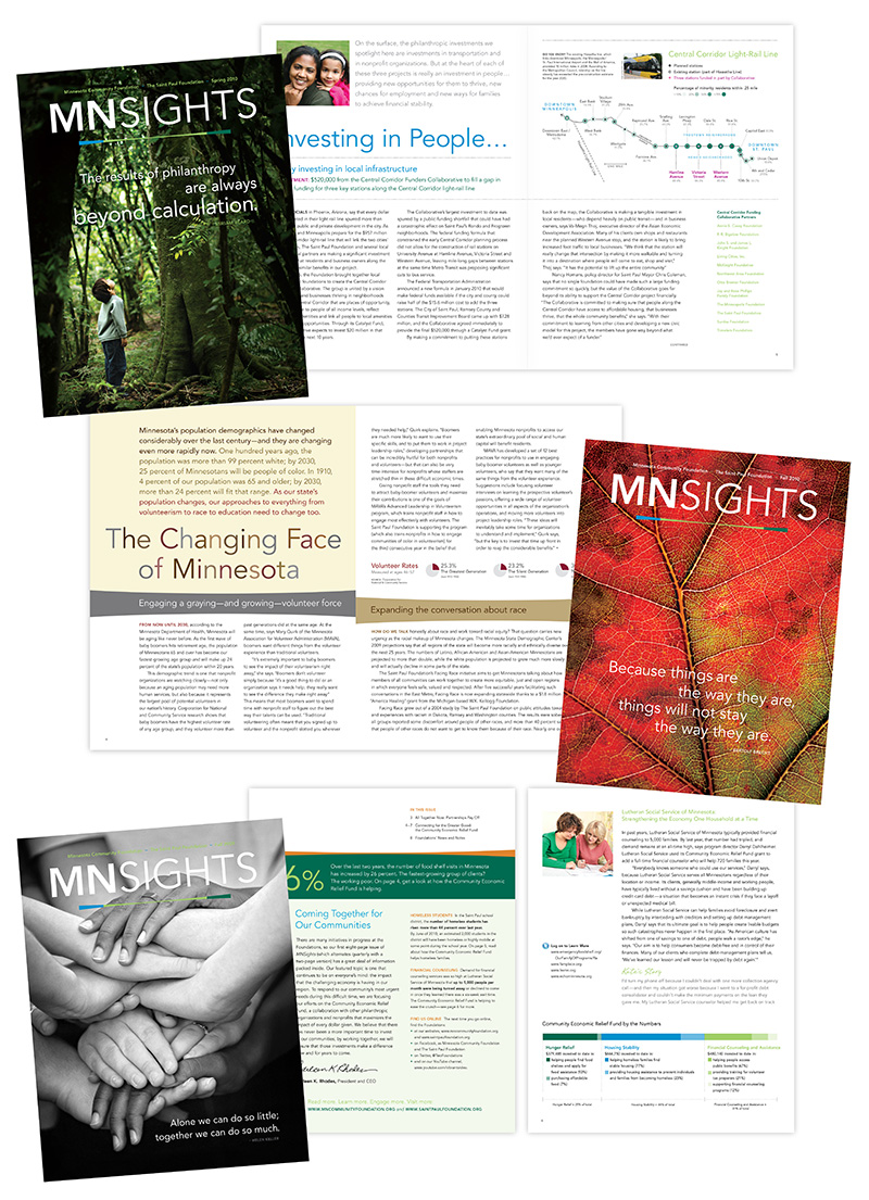 "Three sample layouts of ""MNSights"" magazine; graphic design by Carolyn Porter of Porterfolio, Inc."