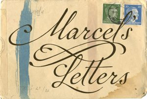 "Yellowed, WWII-era envelope with blue and red chemical censor marks, green and blue postage stamps that show profile of Adolf Hitler and title of book ""Marcel's Letters"""