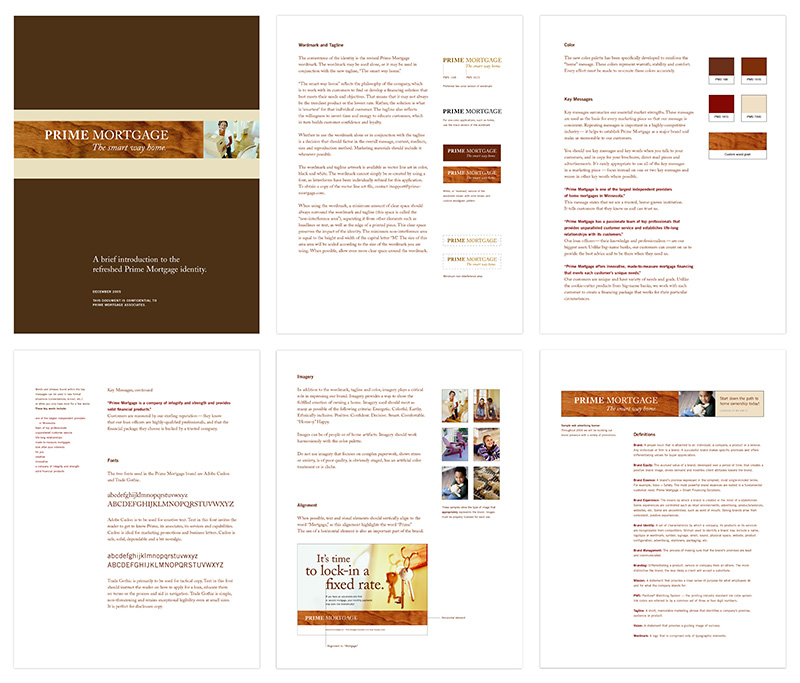 Six pages from brand standard document for Prime Mortgage; graphic design by Carolyn Porter of Porterfolio, Inc.