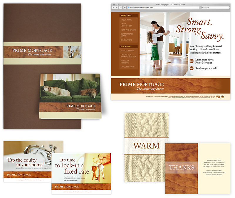 Collage of materials created for Prime Mortgage; graphic design by Carolyn Porter of Porterfolio, Inc.