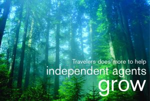 "Cover of Travelers Insurance new agent ""prospecting"" kit showing forest with tall trees and headline ""Travelers does more to help independent agents grow""; graphic design by Carolyn Porter of Porterfolio, Inc."