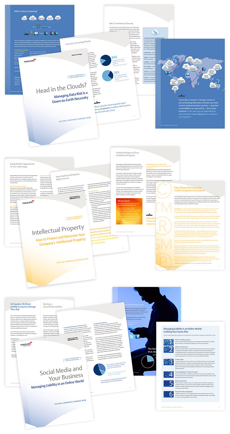 Sample layouts of white paper reports created for Travelers Insurance; graphic design by Carolyn Porter / Porterfolio, Inc.