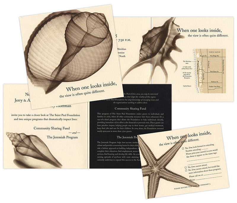 Sample of invitation for fundraising event showing x-ray of seashell; design by Carolyn Porter / Porterfolio, Inc.