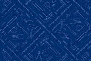 Image of Travelers Personal Insurance Sales & Marketing Toolkit showing schematic illustration of tools on blue background; graphic design by Carolyn Porter of Porterfolio, Inc.