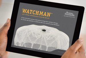 two hands holding iPad with sales app featuring WATCHMAN product by Boston Scientific; graphic design by Carolyn Porter of Porterfolio, Inc.