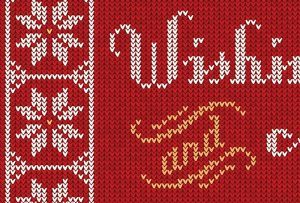 Detailed image of holiday card made to look like knitted, patterned sweater; graphic design by Carolyn Porter of Porterfolio, Inc.