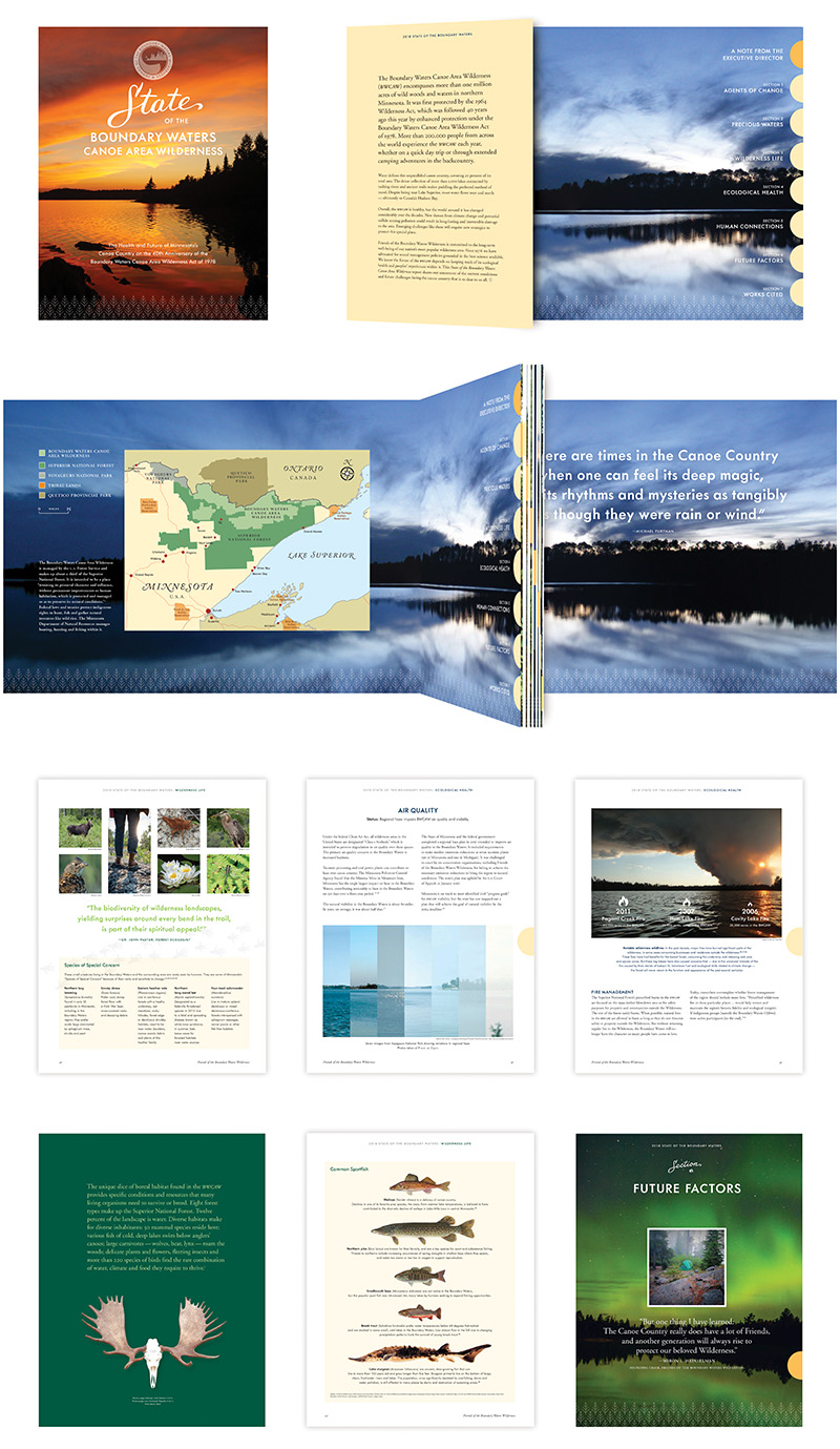 "Sampling of interior pages of ""State of the Boundary Waters"" report by Friends of the Boundary Waters Wilderness; graphic design by Carolyn Porter of Porterfolio, Inc."