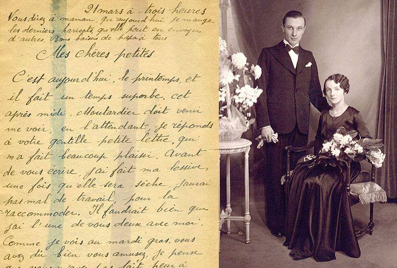 Photo of letter written by Marcel Heuzé, along side wedding photo of Marcel and Renée Heuzé