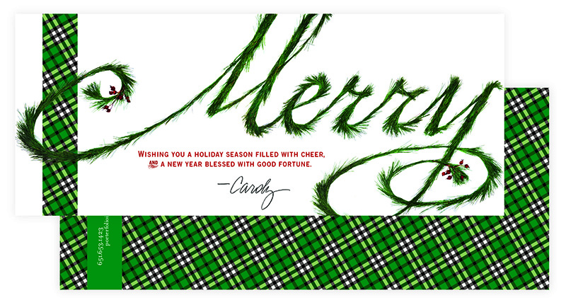 "Holiday card showing word ""Merry"" made out of evergreen boughs; graphic design by Carolyn Porter of Porterfolio, Inc."