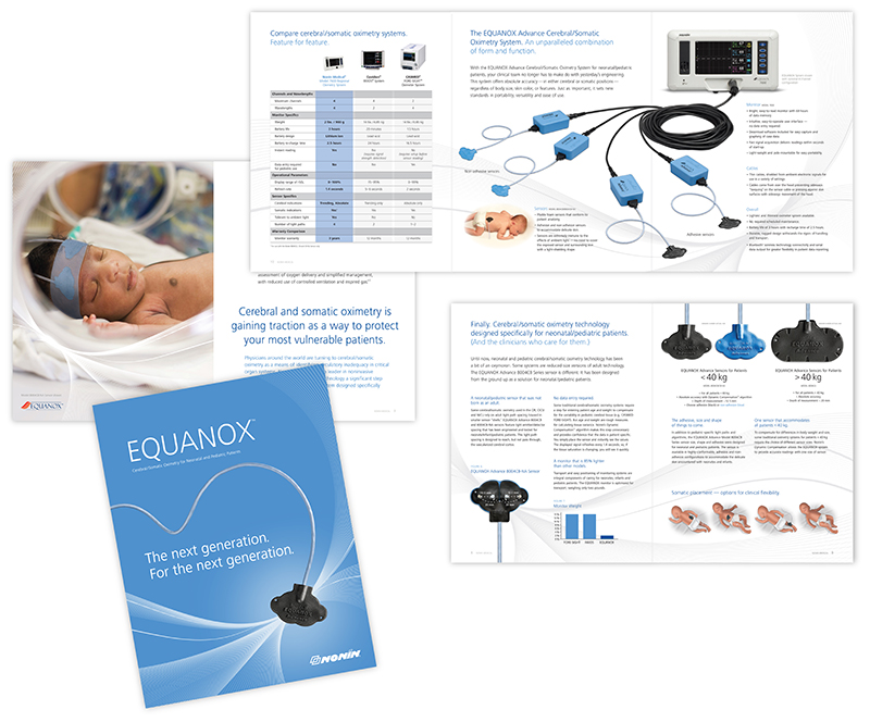 Sample pages showing interior of brochure for Nonin Medical showing Equanox oximetry system; graphic design by Carolyn Porter of Porterfolio, Inc.