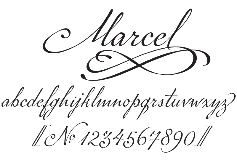 Image of lowercase letters a-z from font P22 Marcel Script.