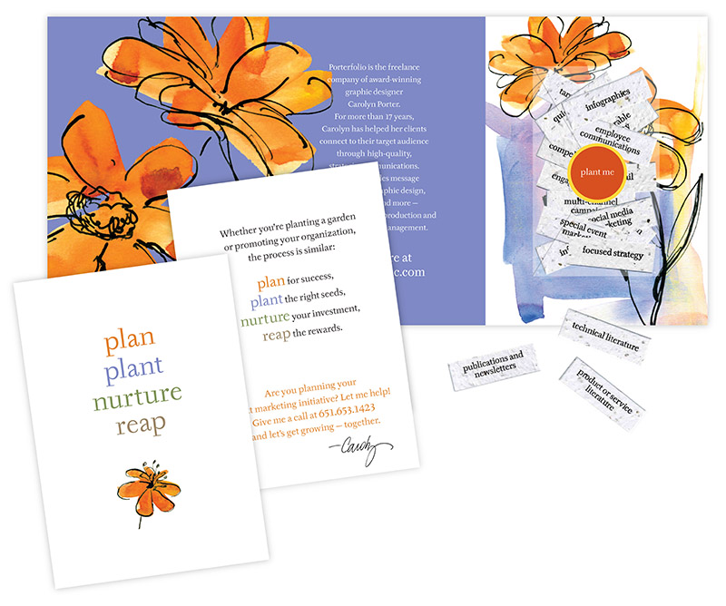 Sample layout showing plantable seed paper printed with various marketing tactics; graphic design by Carolyn Porter of Porterfolio, Inc.