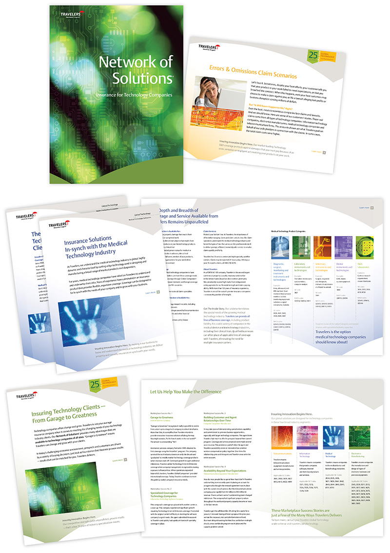 "Sample layouts showing Travelers' ""Network of Solutions"" folder and inserts; graphic design by Carolyn Porter of Porterfolio, Inc."