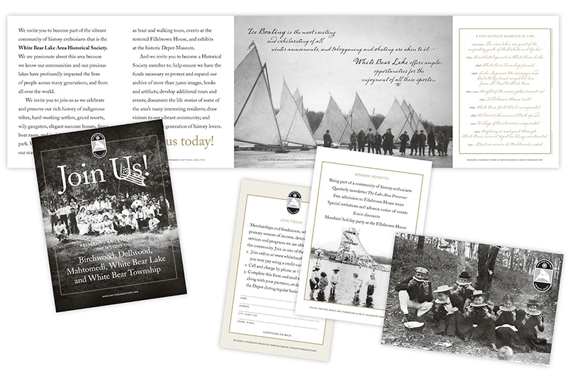 Sample layouts showing White Bear Lake Area Historical Society brochure; graphic design by Carolyn Porter of Porterfolio, Inc.