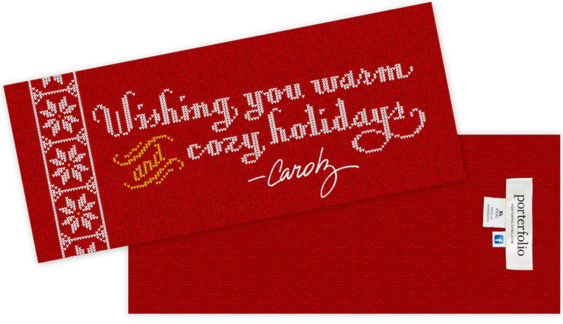 Holiday card mimicking look of hand-knitted sweater with snowflake pattern. Typographic illustration and graphic design by Carolyn Porter of Porterfolio, Inc.